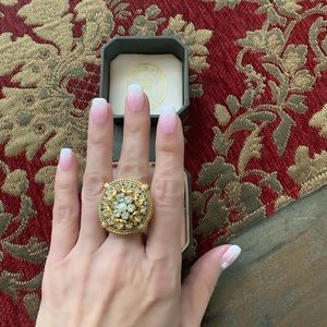 Adjustable Bling Big Statement CZ Pearl Ring